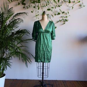 AMANDA UPRICHARD Emerald Green Silk Mini Dress